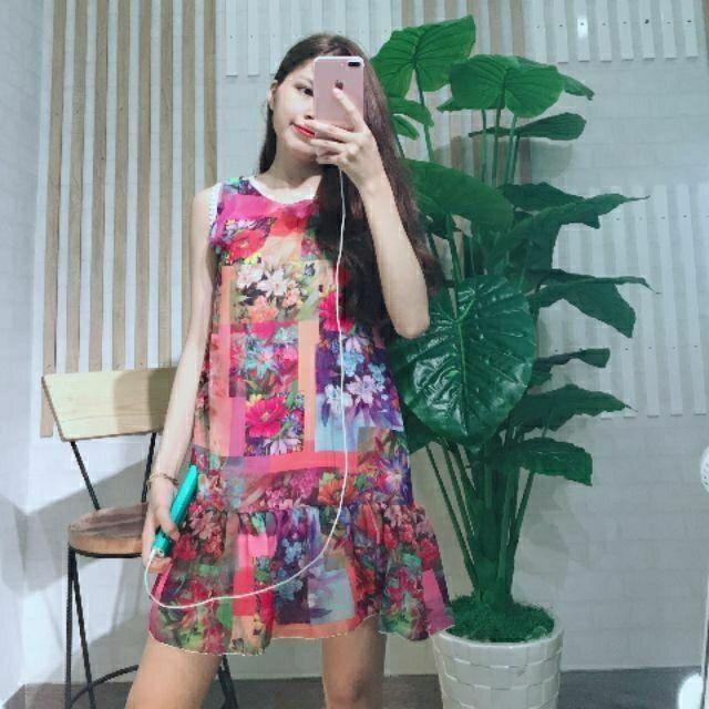 Đầm suông voan hoa