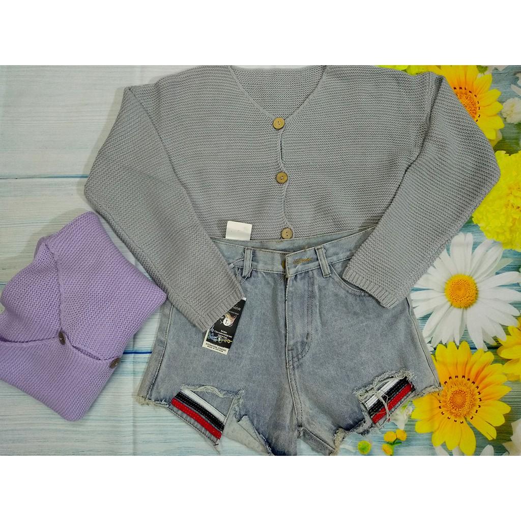 set áo len + quần jean dễ thương