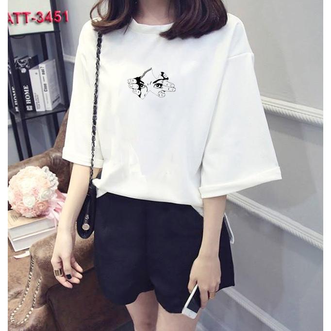 Áo thun nữ tay lỡ Hàn Quốc form rộng in hình xé áo lộ mặt người vải dày mịn TEEWOTL74
