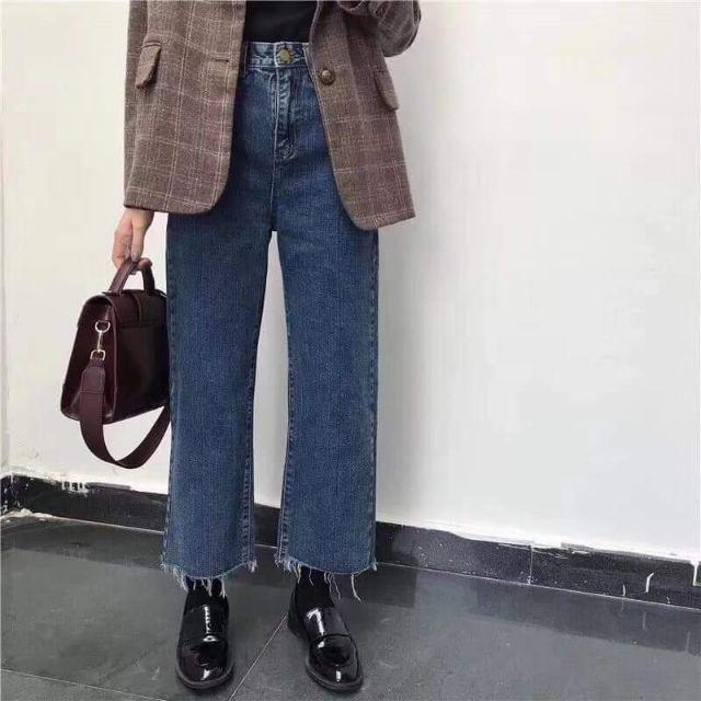 Quần Jeans ống suông cạp cao