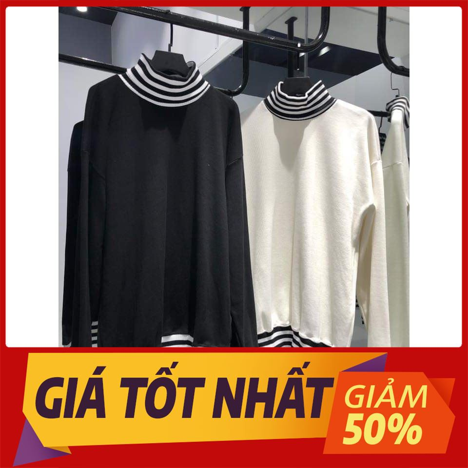 [SALE OFF 50%] Áo Sweater Cổ Lọ Sọc Trắng Đen Unisex , áo thun tay lỡ, quần kaki