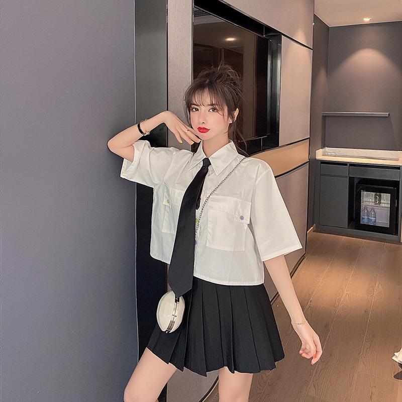 Bộ Áo Sơ Mi Dáng Rộng Phối Nơ + Chân Váy Xinh Xắn Theo Phong Cách Hàn Quốc 2020