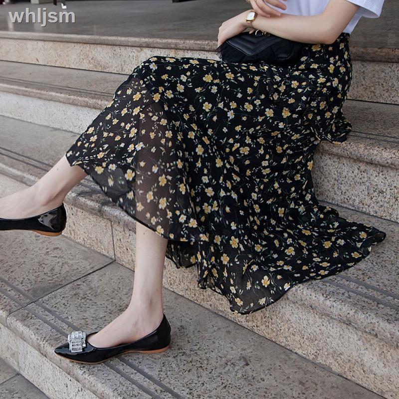 Chân Váy Voan Hoa Thiết Kế Lệch Tà Xinh Xắn Cho Nữ