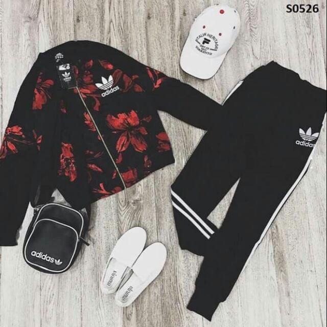 Set adidas hoạ tiết hoa đỏ
