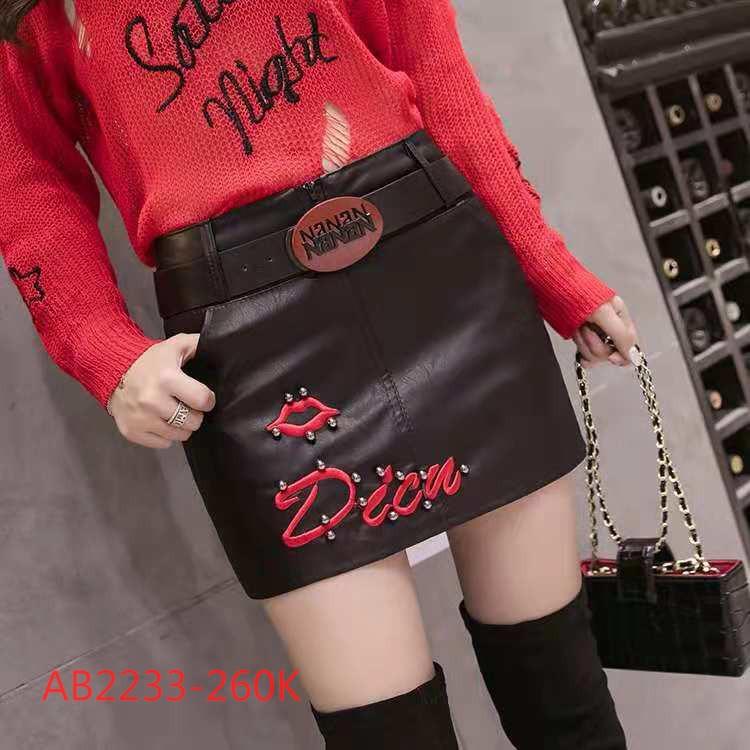 (AB2233) Chân váy ôm da cao cấp họa tiết môi chữ nổi bật kèm đai lưng cực sang