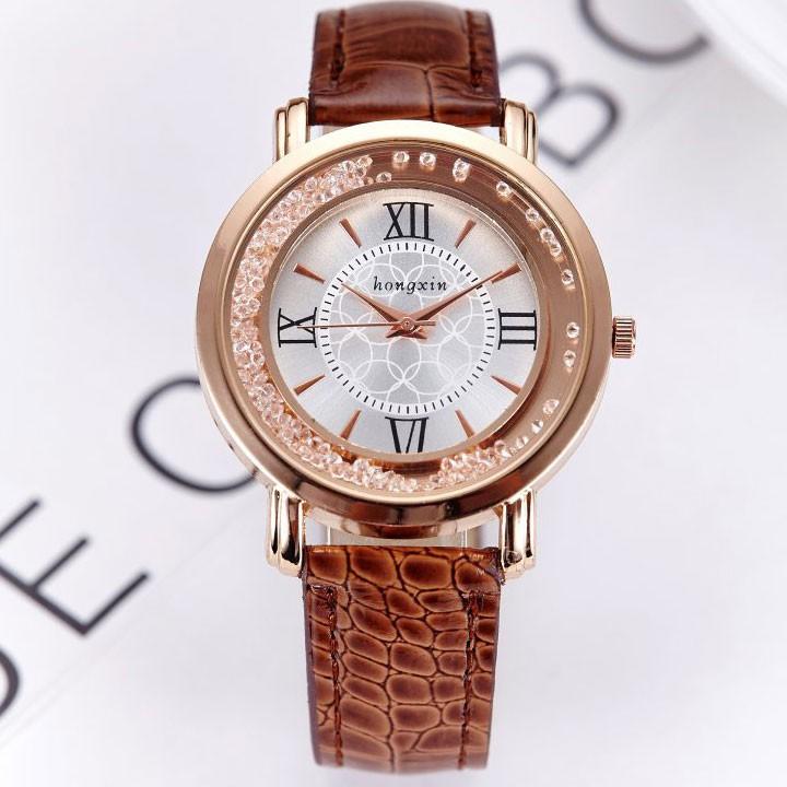 [Mã WTCHJAN giảm 20K ] Đồng hồ nữ Hongxin HSP6881 dây da pu, mặt kính size 38mm