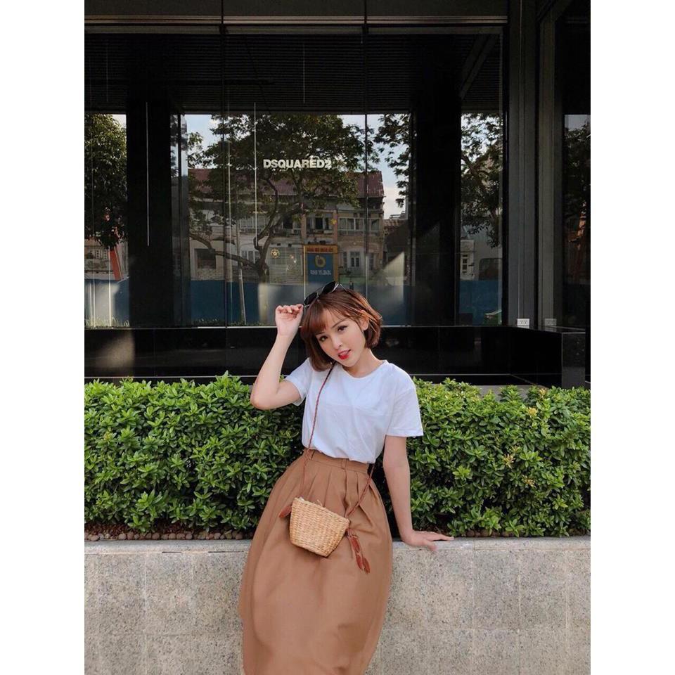 Set chân váy nude và áo thun trắng nhẹ nhàng xinh xắn CB (Minh Trang Shop)