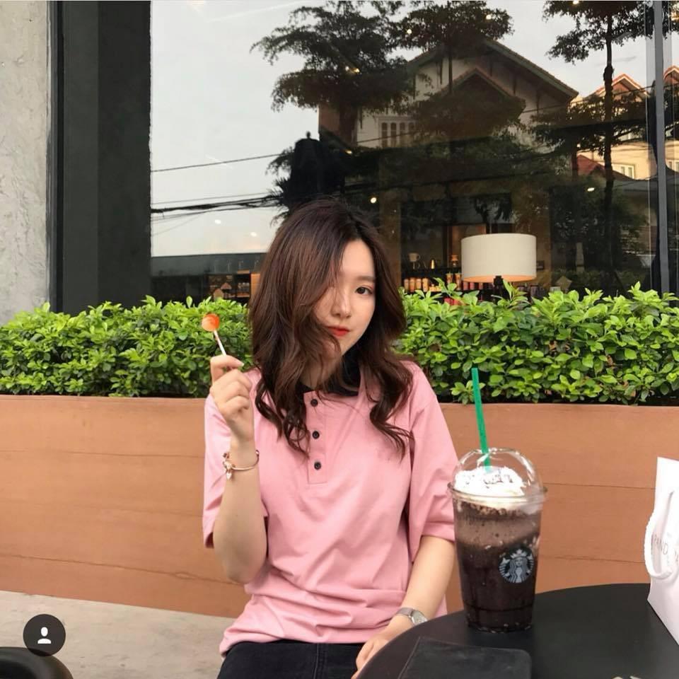 áo thun overtee cổ trụ màu hồng_ fox unisex