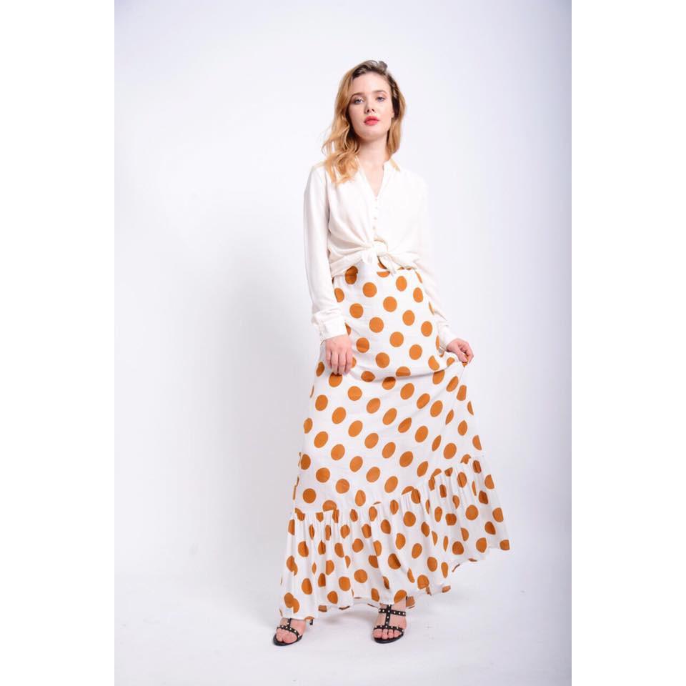Chân váy Maxi f21 bi vàng