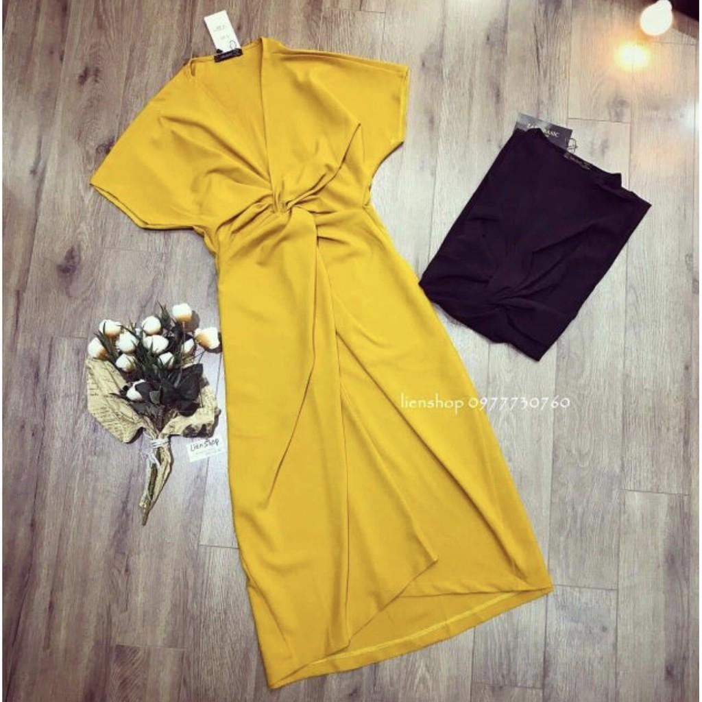 [Thanh lý] Váy thun xoắn eo vàng