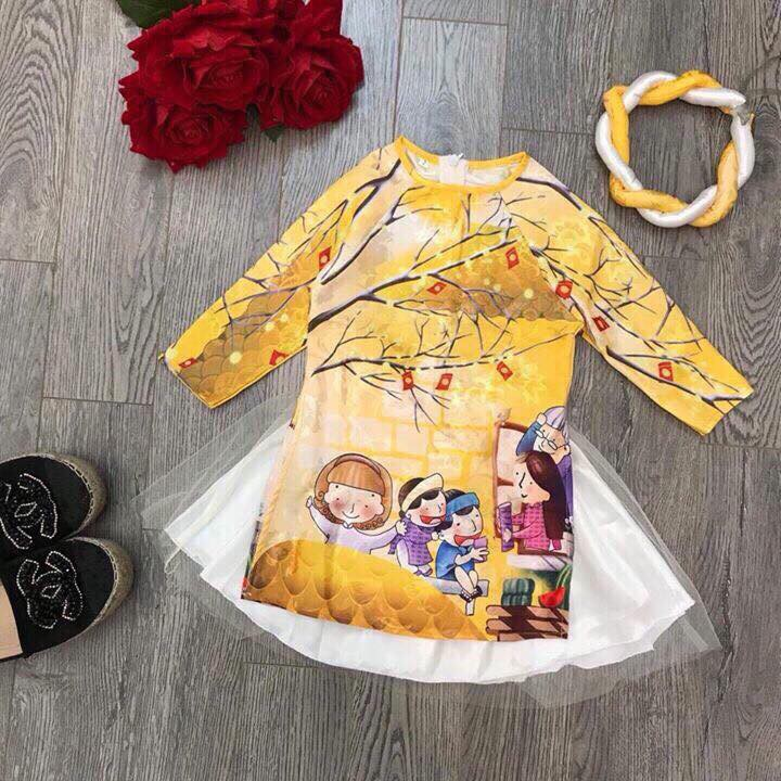 SIÊU PHẨM Set áo dài cách tân bé gái 8 - 25kg (1-7 tuổi)