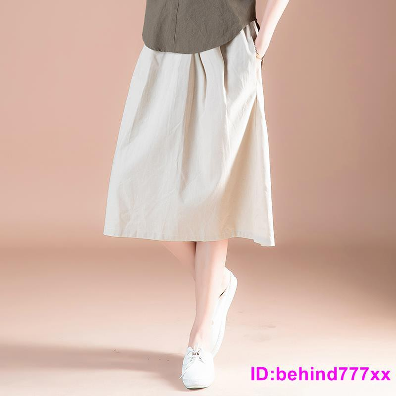 Chân Váy Dài Vải Lanh Phối Cotton Thời Trang 2020 Cho Nữ