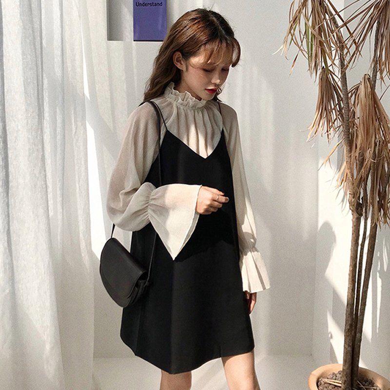 Set Áo Tay Dài + Chân Váy Thời Trang Hàn Quốc