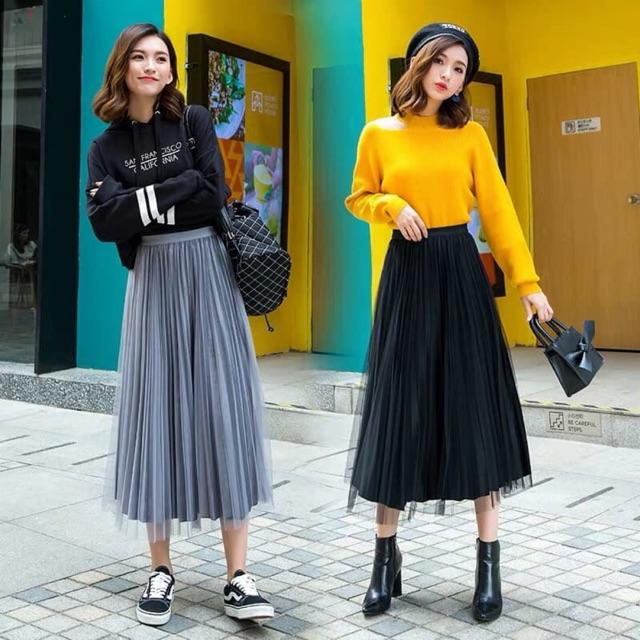 Chân váy dài ren quả bông