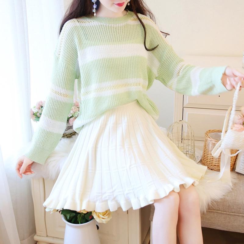 Bộ Áo Sweater Dáng Rộng + Chân Váy Dệt Kim Thời Trang Hàn Quốc Nữ Tính