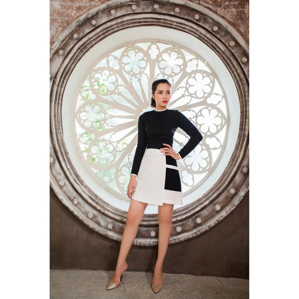 Chân váy và áo thun Mia Selena dài tay thiết kế mới lạ (Trắng-đen)