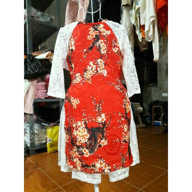 Set áo dài cách tân 3 chi tiết màu đỏ và trắng