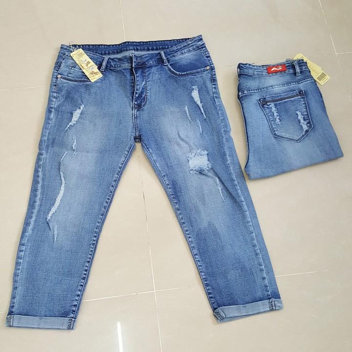 Quần jeans lửng rách big size