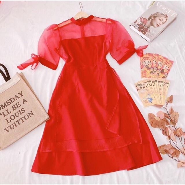 Đầm giả áo dài cách tân đỏ (ảnh thật)