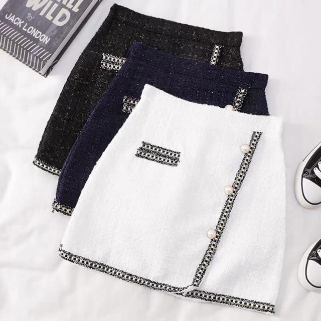 Chân váy dạ Kim Tuyến Vạt Chéo - Hàng QC loại 1
