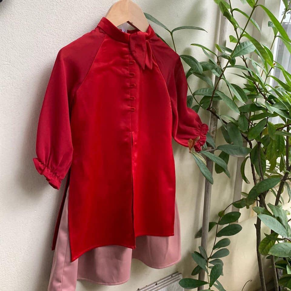 áo dài cách tân bé gái tay bồng nơ cổ siêu xinh hót hít đủ sz (9 - 30kg)