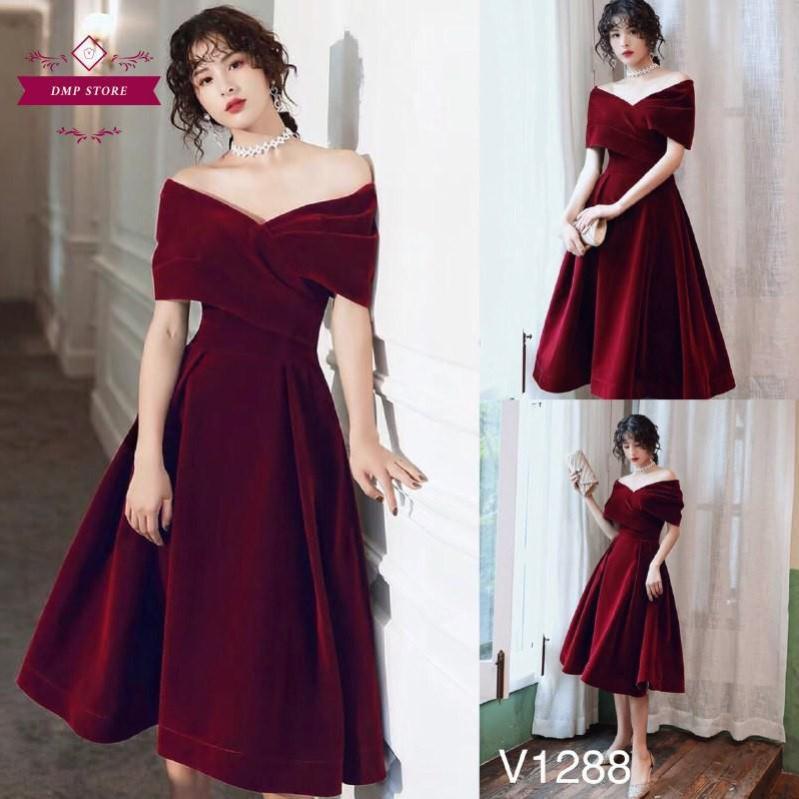 (Hàng thiết kế) Váy đầm trễ vai đỏ SKU 0288 dự tiệc