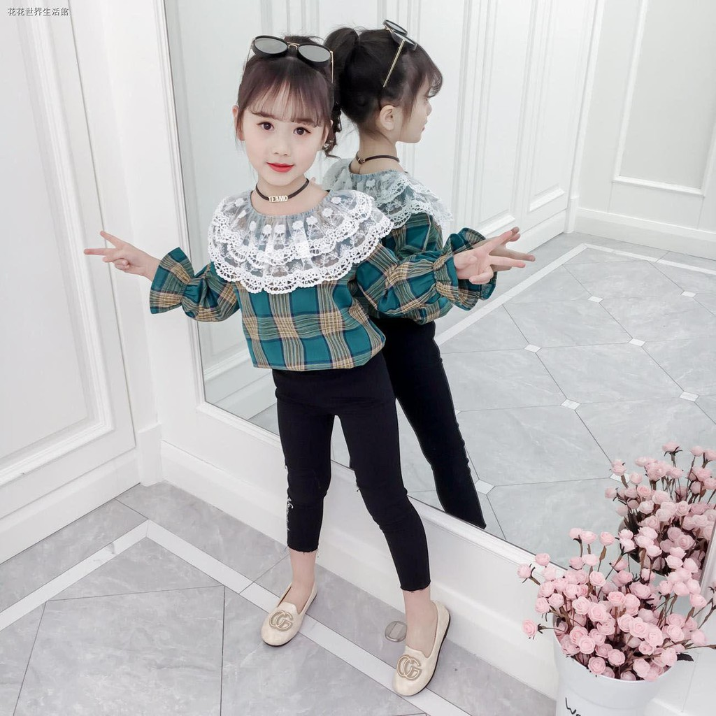 Set Áo Sơ Mi Tay Dài Phối Chân Váy Thời Trang Xuân Thu Cho Bé Gái