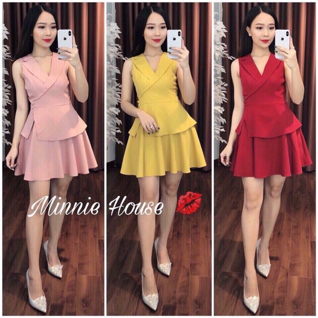 Đầm cổ vest váy xếp ly siêu HOT - đầm thiết kế