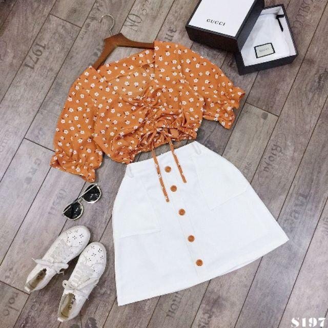 Set chân váy trắng áo hoa cam