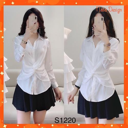 [Hàng Cao Cấp] Set bộ áo sơ mi xoắn eo và chân váy xòe S1220 Nata Design kèm ảnh thật