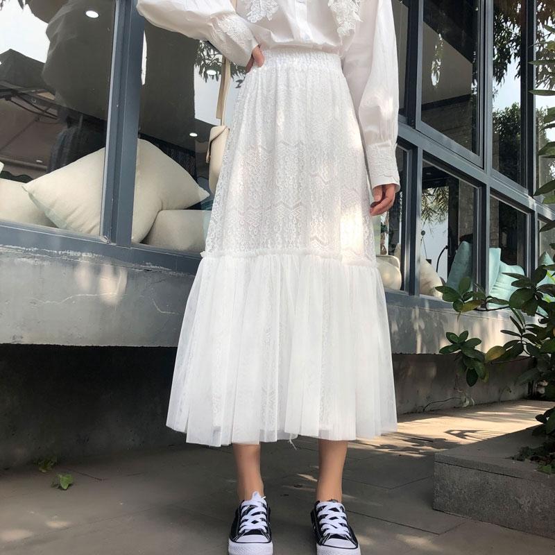 Chân Váy Chữ A Xếp Ly Phối Vải Lưới Nữ Tính Trẻ Trung Phong Cách Nhật Bản 2020