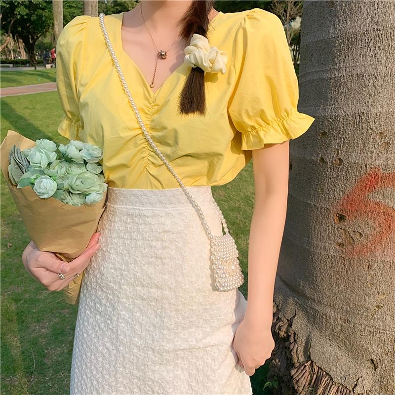 Bộ Áo Ngắn Tay + Chân Váy Lưng Cao Xinh Xắn Dành Cho Nữ
