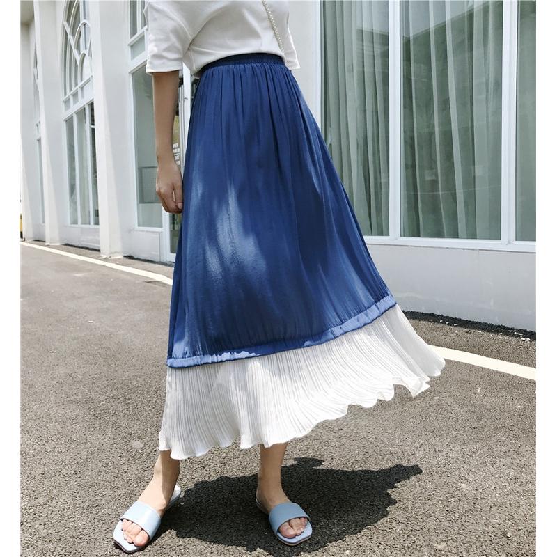 Chân Váy Voan Dáng Chữ A Viền Lá Sen Nữ Tính Trẻ Trung Phong Cách Hàn Quốc
