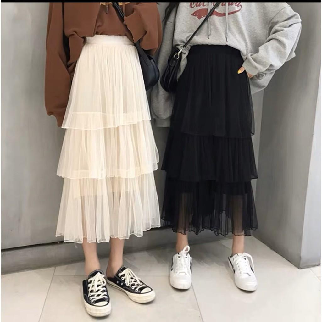 [SẴN] Chân váy dài ba tầng tutu xếp ly màu trơn ulzzang midi