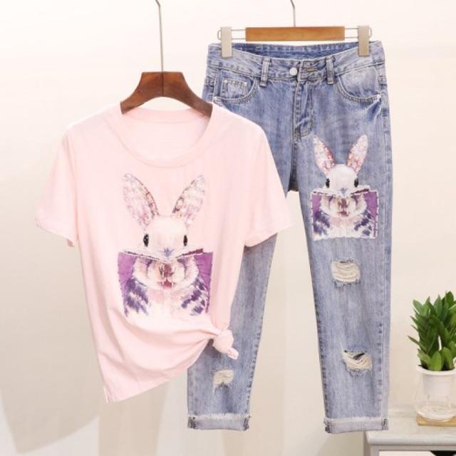 Set áo thun tay ngắn + quần jeans 7 tấc tua rua