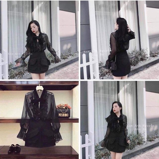 Chân váy dạ túi hai nắp màu đen