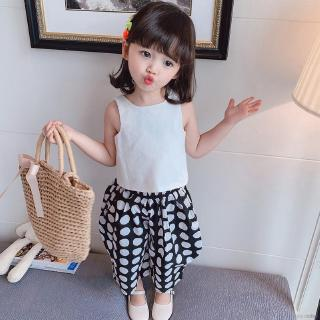 【Superseller】Summer GirlsSuit Korean Version Sleeveless Tops With Two-piece Wide-leg Pants 3-8 Years Old