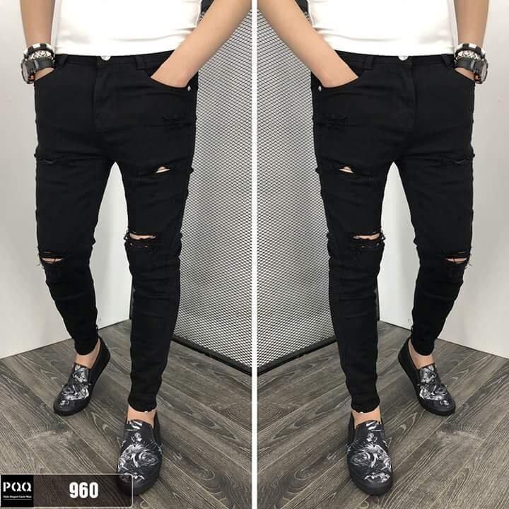 Quần jean nam đen rách nhiều thời trang cao cấp hàng chuẩn shop ms 186