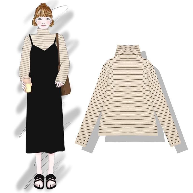 Chuối chuối 2018 mùa thu và mùa đông mới cao cổ gió lười sọc đan top Slim mỏng đáy áo