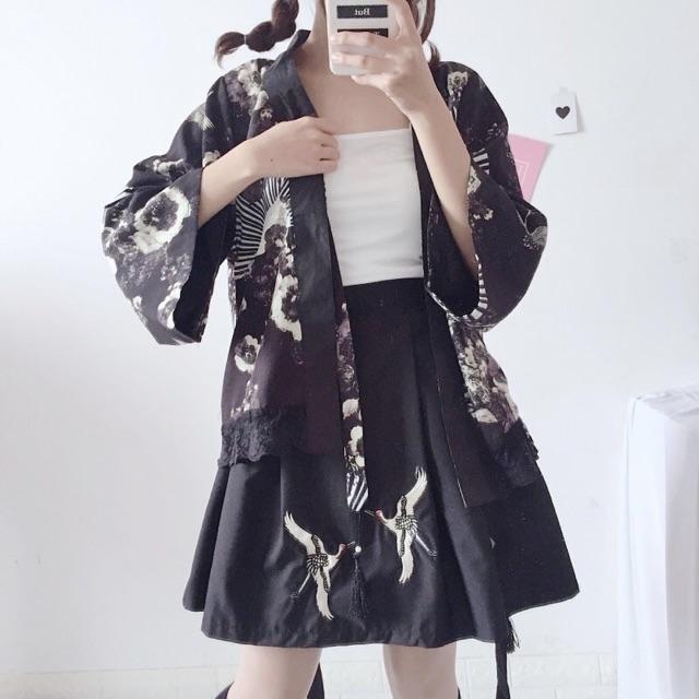 [ Kèm ảnh thật ] Set áo khoác + chân váy thêu hạc cá tính