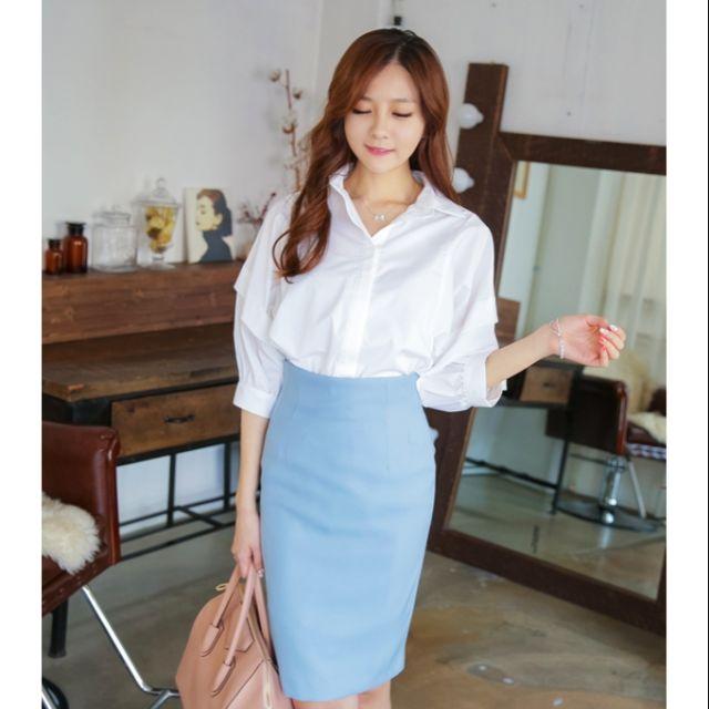 [Hàng thiết kế]Chân váy bút chì xanh nơ công sở_ M17a