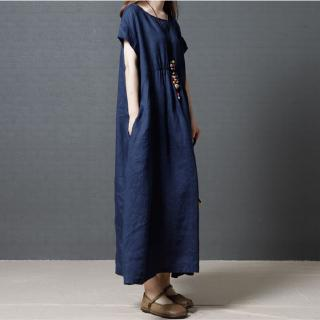 Hình ảnh Cotton and linen dress plus size women's summer mid-length skirt 2020 new Korean version loose loose thin drawstring lin