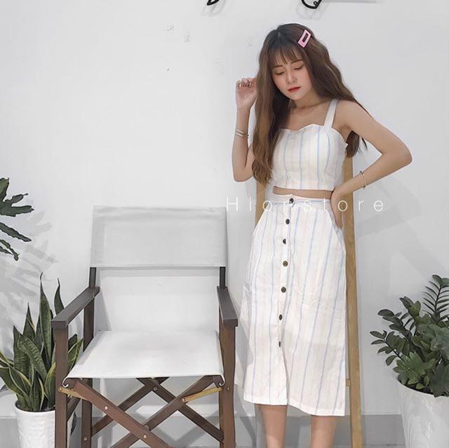 Sét áo 2 dây chân váy midi