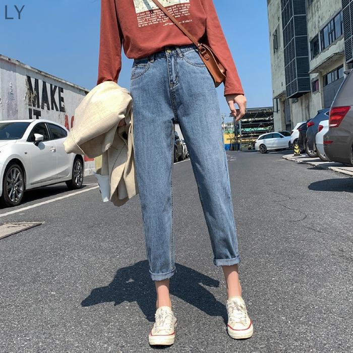 Quần jeans ống suông lưng cao thời trang