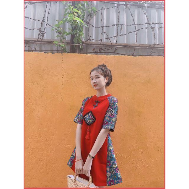 [Giá Xưởng] Áo Dài Cách Tân Phong Cách Đầm Đỏ Sườn Xám Phối Gấm Hoa Hàng chuẩn