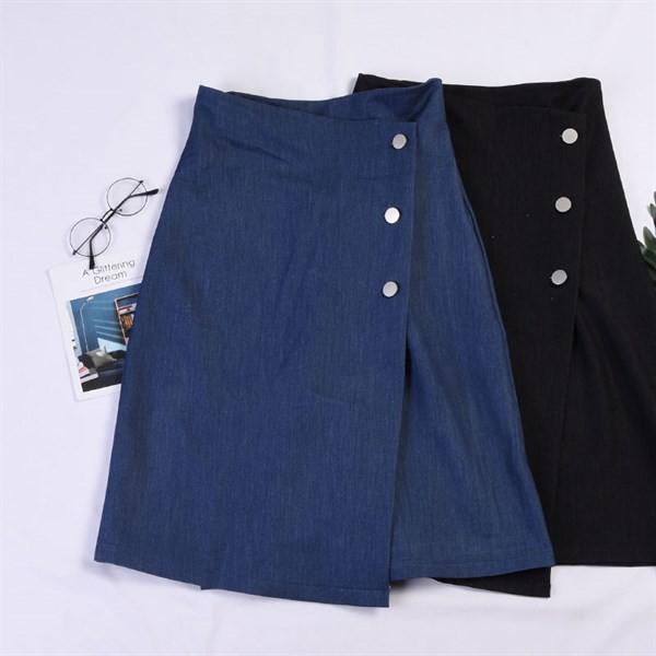 Chân váy bò xanh khuy sườn