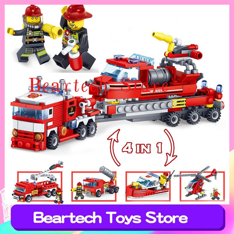 Hình ảnh 348pcs 4 in 1 Fire Fighting Station Building Blocks Deformation Car Helicopter Boat Compatible Lego Police City Bricks