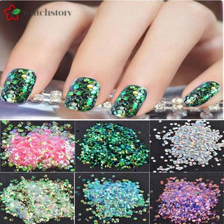 WS Women Shining Fish Scales Nails Sequins Hexagon Glitter Tips Manicure Beauty Nail Art Decoration