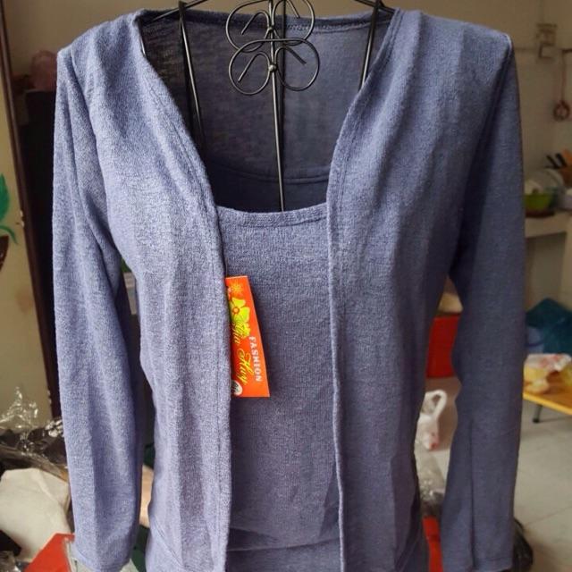 Sét đầm len 2 dây cùng áo khoác ngoài