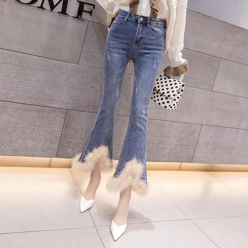 Quần Jeans Ống Loe Lưng Cao Phong Cách Hàn Quốc 2020 Cho Nữ